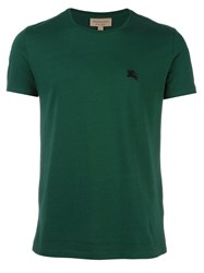 Burberry Logo Embroidered T Shirt Green