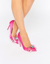 Asos Payday Embellished Pointed High Heels Pink