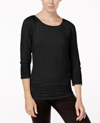 Gaiam Clover Strappy Back Long Sleeve Top Black