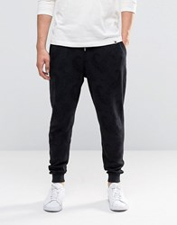 Pretty Green Joggers With Tonal Paisley Print In Slim Fit Black