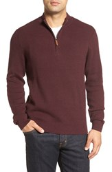 Nordstrom Men's Big And Tall Men's Shop Cotton And Cashmere Rib Knit Sweater Burgundy Fudge Heather
