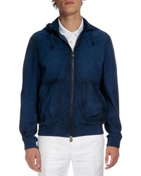 Berluti Packable Hooded Leather Jacket Metallic Blue