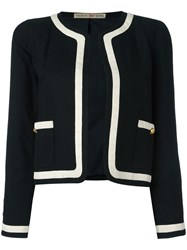 Chanel Vintage Contrast Stripe Jacket Black