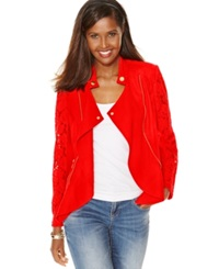Inc International Concepts Petite Lace Sleeve Linen Jacket Loving Red
