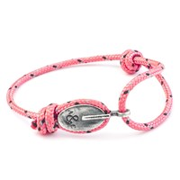 Anchor And Crew London Rope And Silver Bracelet Solid Pink