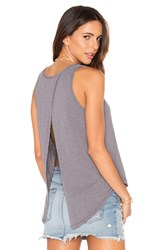 Bobi Slubbed Jersey Open Cross Back Tank Grey