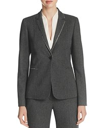 Elie Tahari Tova Metallic Trim Blazer Black Multi