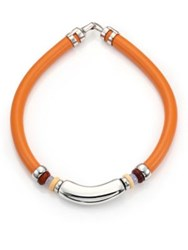 Lizzie Fortunato Bone Horn Blue Lace Agate And Leather Choker Necklace Orange