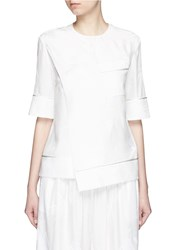 Ms Min Bamboo Leaf Silk Jacquard Top White