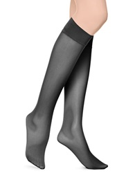 Hue Mesh Knee High Tights With Comfort Top Black