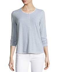 James Perse Striped Long Sleeve Henley Tee White