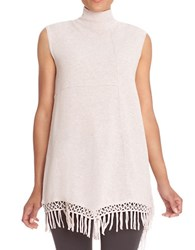 Nic Zoe Fringed Sleeveless Turtleneck Sweater Pink