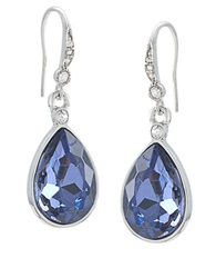 Carolee Silver Tone And Royal Blue Teardrop Earrings Grey