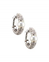 Mikimoto 18K South Sea Pearl And Diamond Hoop Earrings Black