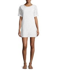 Current Elliott The Eyelet Cotton T Shirt Dress Dirty White Eyelet Women's