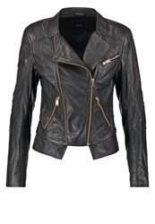 Guess Suzen Leather Jacket Noir Jet Black