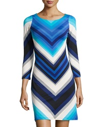 Jb By Julie Brown Goldie Chevron Shift Dress Blue Marlow