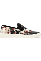 Mother Of Pearl Gatson Patent Leather Trimmed Printed Satin Sneakers Pink