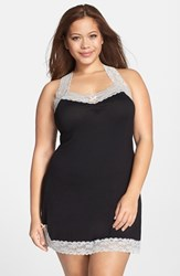 Plus Size Women's Honeydew Intimates 'All American' Chemise Black Silver