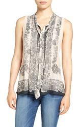 Lucky Brand Women's Sleeveless Border Print Tie Neck Top