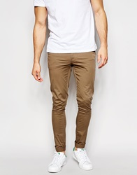 Asos Extreme Super Skinny Chinos In Light Brown Fossil