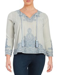 Context Plus Embroidered Peasant Top Blue