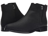 Armani Jeans Lizzard Printed Bootie Black Women's Pull On Boots