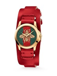 Gucci G Timeless Embroidered Bee Goldtone Stainless Steel And Leather Watch