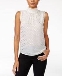 Maison Jules Metallic Detail Mock Neck Top Only At Macy's Egret Combo