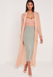 Missguided Carli Bybel Maxi Duster Coat Pink Red