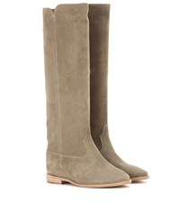 Isabel Marant Etoile Cleave Concealed Wedge Suede Boots Beige