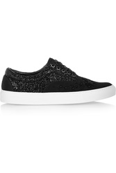 Mother Of Pearl Nixon Embellished Canvas And Glittered Leather Sneakers Black