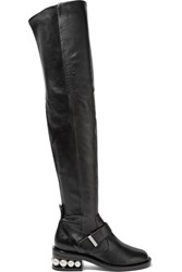 Nicholas Kirkwood Casati Embellished Leather Over The Knee Boots Black