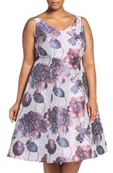Adrianna Papell Plus Size Women's Beaded Floral Fit And Flare Dress Purple Multi