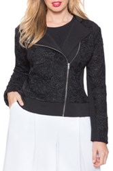 Eloquii Studio Lace Biker Jacket Plus Size Black