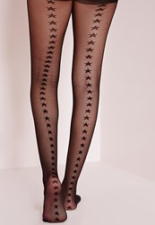 Missguided Star Seam Tights Black Black