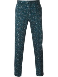 Paul Smith Floral Print Tailored Trousers Blue