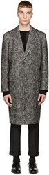 Dolce And Gabbana Black And White Wool Coat
