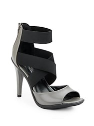 Kenneth Cole Reaction Rhye Leather And Textile Sandals Charcoal