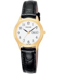 Pulsar Watch Women's Black Leather Strap Pxu012 Women's Shoes