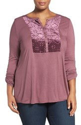 Lucky Brand Plus Size Women's Burnout Velvet Bib Knit Top Tulipwood