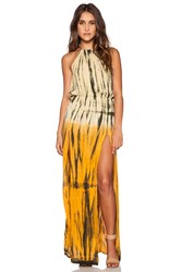 Blue Life Double Slit Halter Maxi Dress Yellow