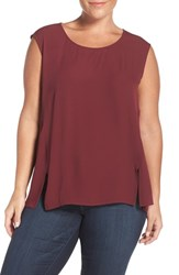 Sejour Plus Size Women's Crepe Georgette Shell Burgundy London