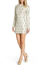 Women's Dress The Population 'Bailey' Long Sleeve Sequin Dress White Gold