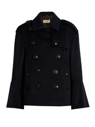 Burberry Townhill Wool And Cashmere Blend Pea Coat Navy