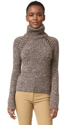 Veronica Beard Indie Mock Neck Sweater Brown