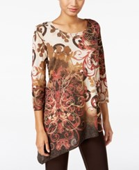 Jm Collection Printed Asymmetrical Tunic Only At Macy's Regal Scroll