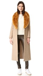 Helmut Lang Wool Coat With Faux Fur Collar Beige Melange