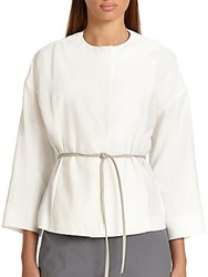 Piazza Sempione Belted Snap Front Jacket White Milk