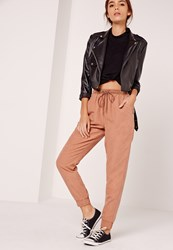 Missguided Peached Touch Joggers Tan Brown